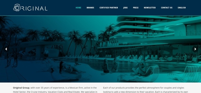 screenshot of the affiliate sign up page for Original Resorts