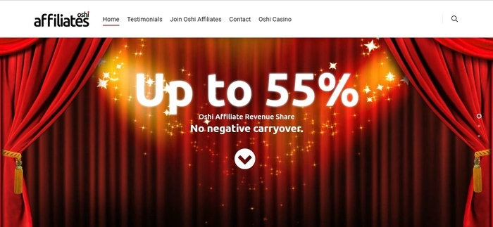 screenshot of the affiliate sign up page for Oshi Affiliates