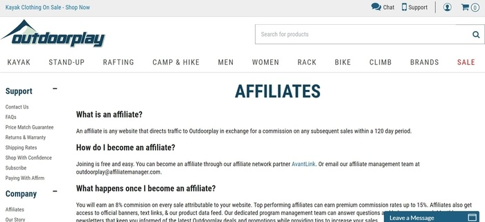 screenshot of the affiliate sign up page for Outdoorplay