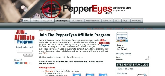 screenshot of the affiliate sign up page for PepperEyes