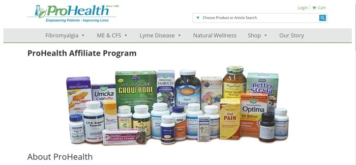 screenshot of the affiliate sign up page for ProHealth