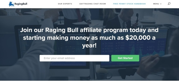 screenshot of the affiliate sign up page for Raging Bull