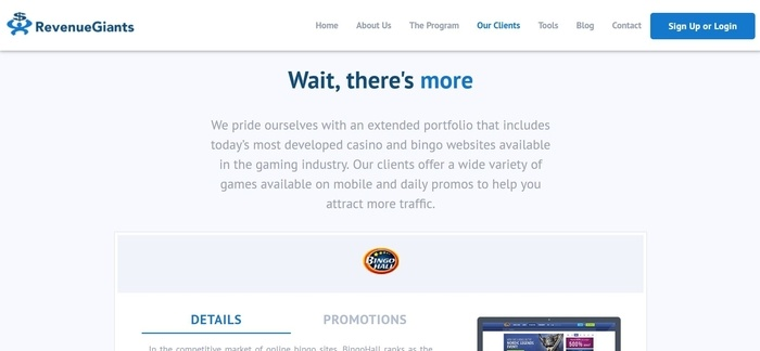 screenshot of the affiliate sign up page for Revenue Giants