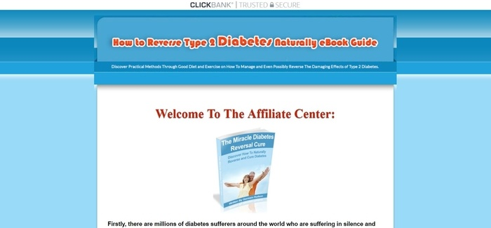 screenshot of the affiliate sign up page for Reverse Type 2 Diabetes Naturally
