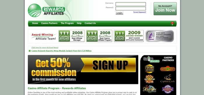 screenshot of the affiliate sign up page for Rewards Affiliates