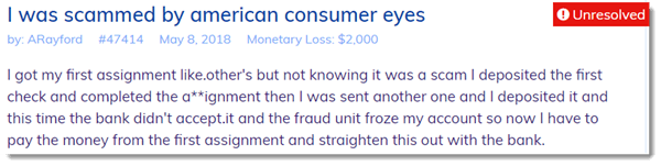 Scammed by American Consumer Eyes