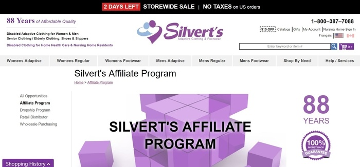 screenshot of the affiliate sign up page for Silvert's