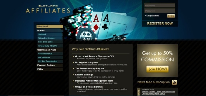 screenshot of the affiliate sign up page for Slotland Affilaites