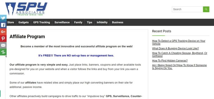screenshot of the affiliate sign up page for Spy Associates