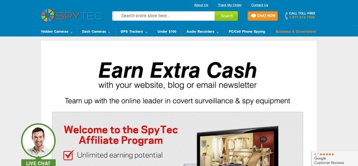 screenshot of the affiliate sign up page for Spy Tec