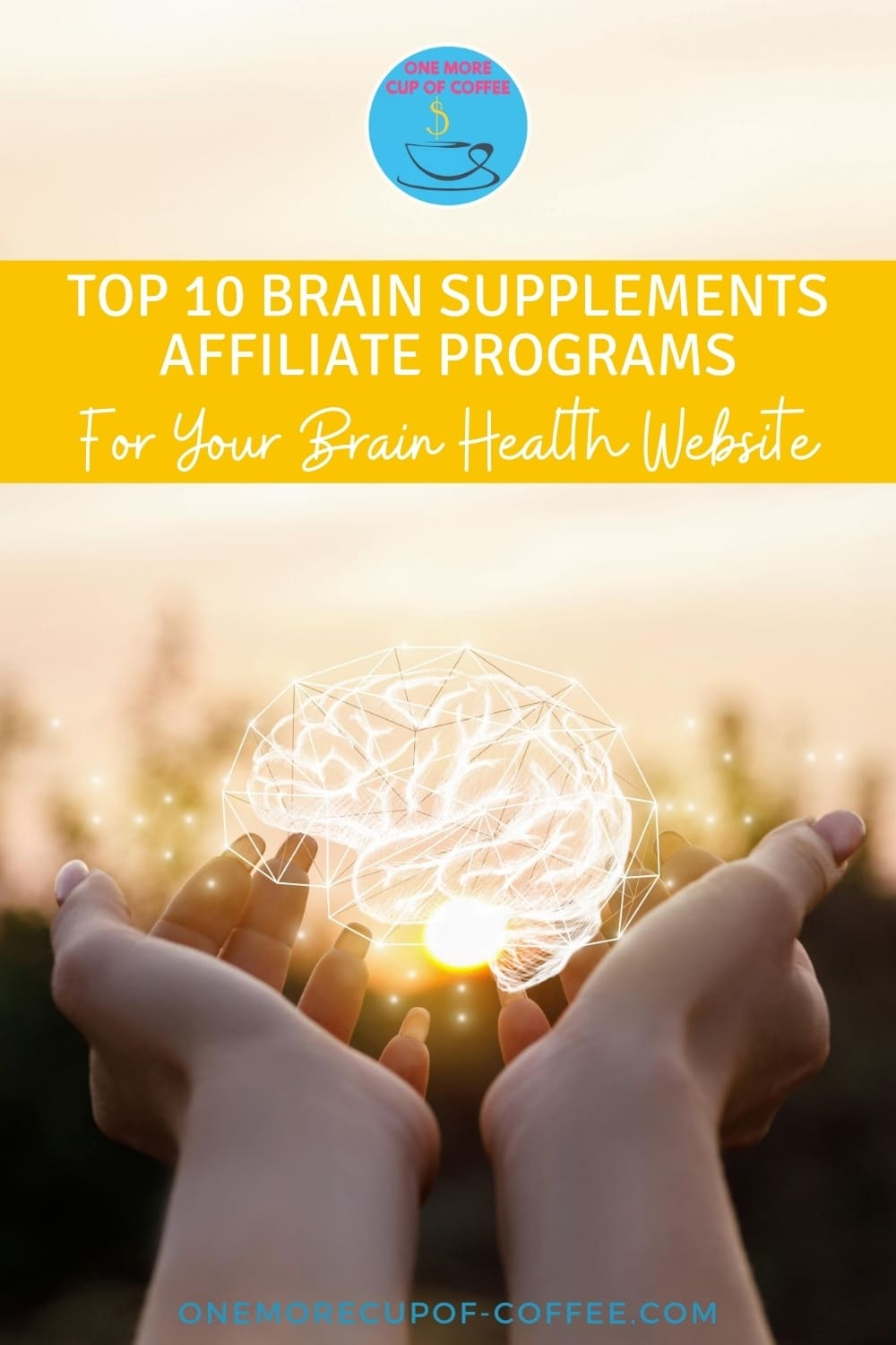 """two hands holding out a brain hologram into the sky, with text overlay """"Top 10 Brain Supplements Affiliate Programs For Your Brain Health Website"""""""