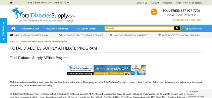 screenshot of the affiliate sign up page for Total Diabetes Supply