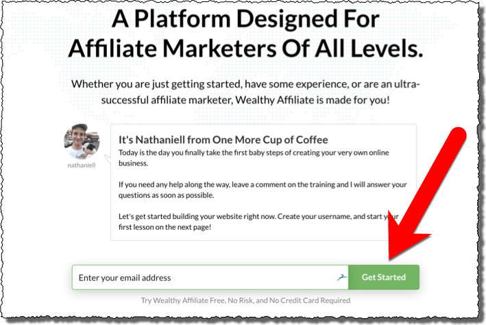 screenshot of signup page at Wealthy Affiliate including a red arrow showing which button to click