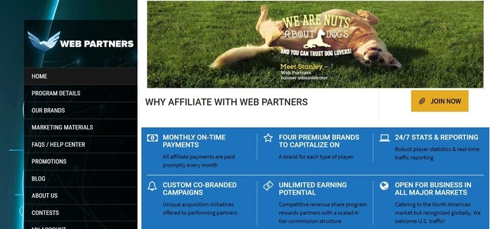 screenshot of the affiliate sign up page for Web Partners