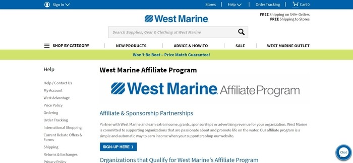 screenshot of the affiliate sign up page for West Marine