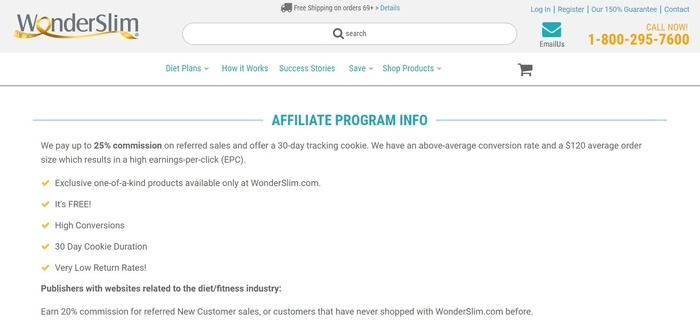 screenshot of the affiliate sign up page for WonderSlim