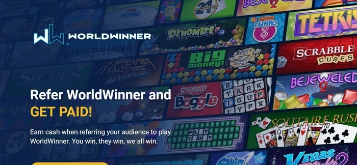 screenshot of the affiliate sign up page for WorldWinner