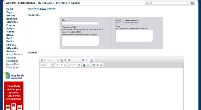 Write For SQL Server Central