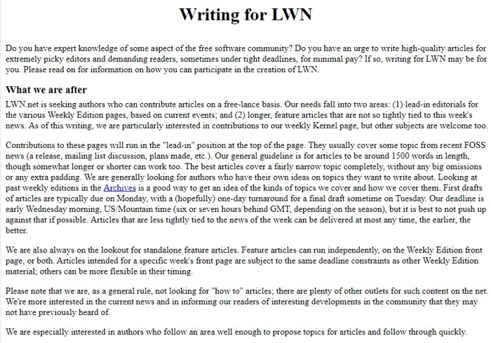 Writing For LWN