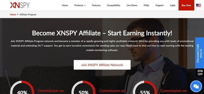 screenshot of the affiliate sign up page for XNSPY