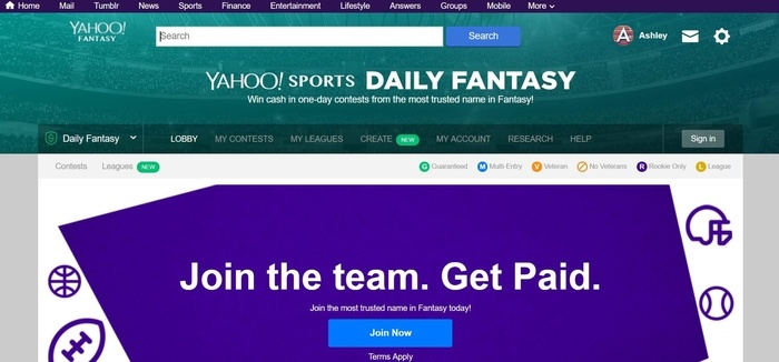 screenshot of the affiliate sign up page for Yahoo Sports Daily Fantasy