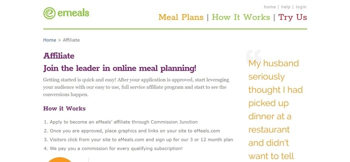 screenshot of the affiliate sign up page for eMeals