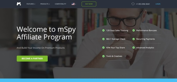 screenshot of the affiliate sign up page for mSpy