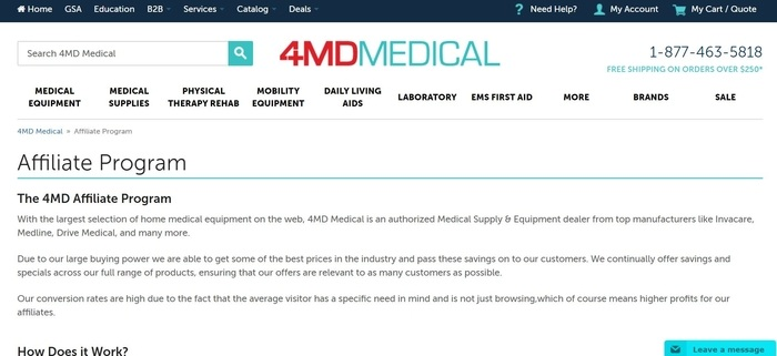 screenshot of the affiliate sign up page for 4MD Medical