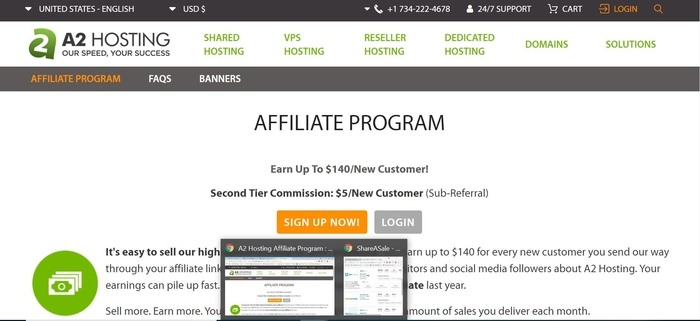 screenshot of the affiliate sign up page for A2 Hosting
