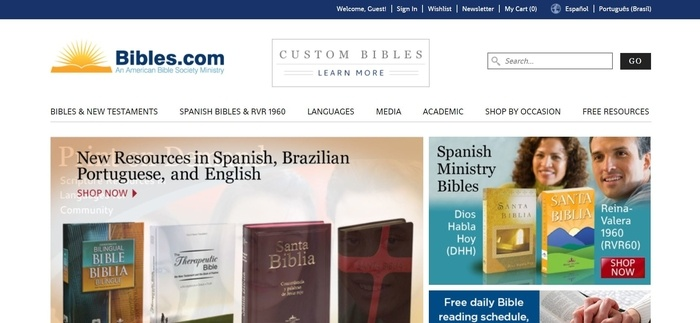screenshot of the affiliate sign up page for American Bible Society