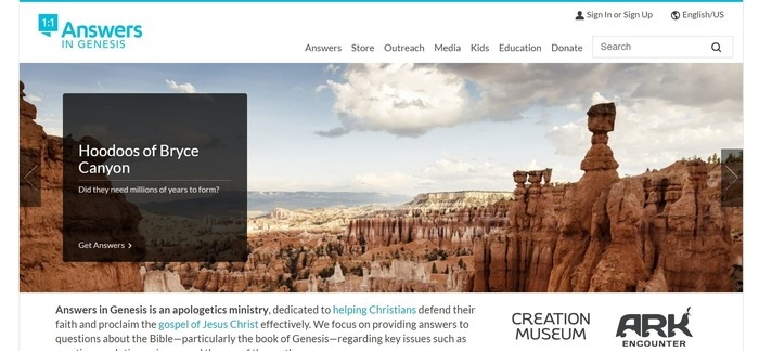 screenshot of the affiliate sign up page for Answers in Genesis