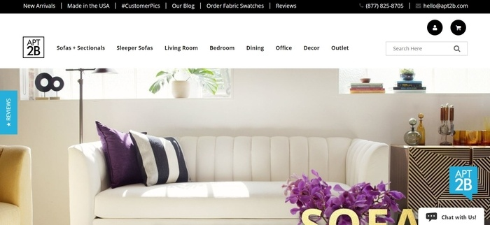 screenshot of the affiliate sign up page for Apt2B Furniture and Home Decor
