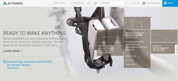screenshot of the affiliate sign up page for Autodesk