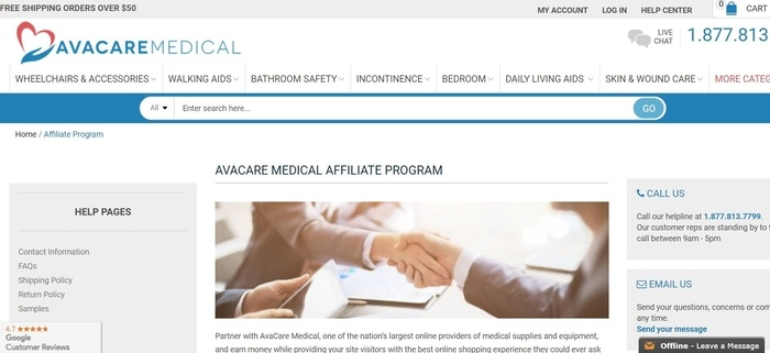 screenshot of the affiliate sign up page for Avacare Medical