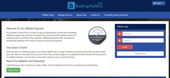 screenshot of the affiliate sign up page for Backup Addict