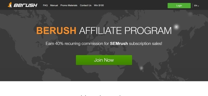 screenshot of the affiliate sign up page for BeRush
