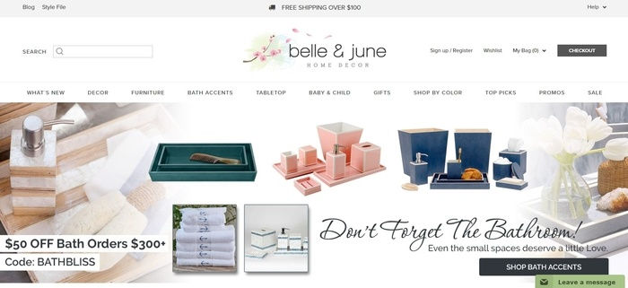 screenshot of the affiliate sign up page for Belle & June
