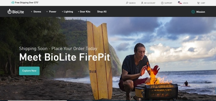 screenshot of the affiliate sign up page for BioLite