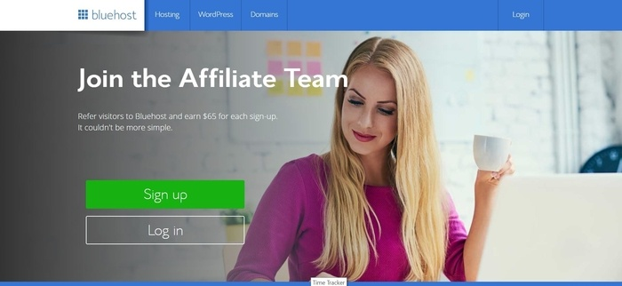 screenshot of the affiliate sign up page for Blue Host