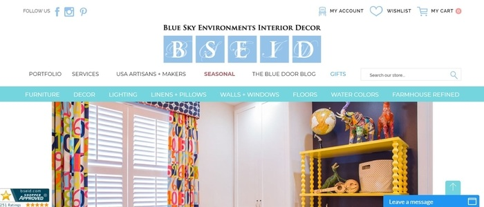 screenshot of the affiliate sign up page for Blue Sky Environments Interior Decor