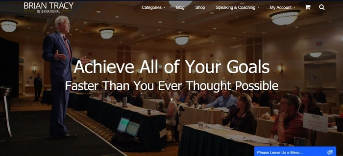 screenshot of the affiliate sign up page for Brian Tracy