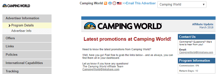 Camping World Affiliate Portal