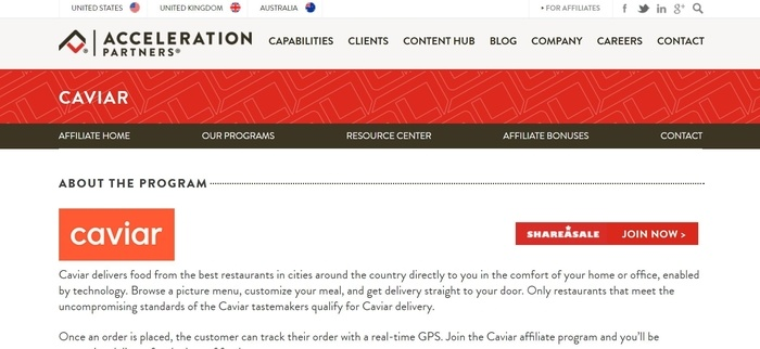 screenshot of the affiliate sign up page for Caviar