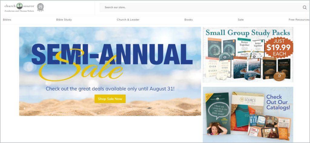 screenshot of ChurchSource homepage