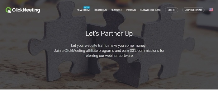 screenshot of the affiliate sign up page for ClickMeeting