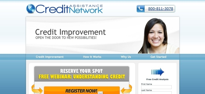 screenshot of the affiliate sign up page for Credit Assistance Network