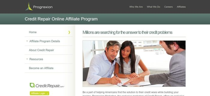 screenshot of the affiliate sign up page for CreditRepair