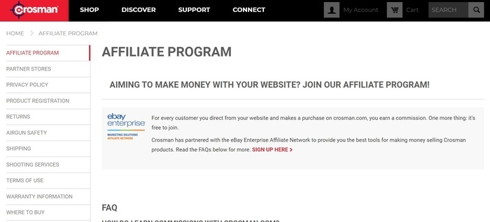 screenshot of the affiliate sign up page for Crosman