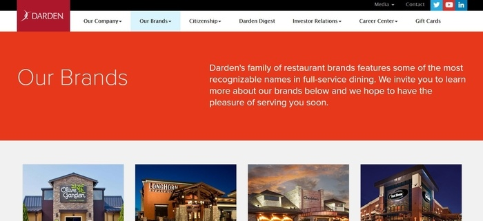 screenshot of the affiliate sign up page for Darden Restaurants