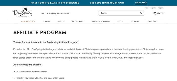 screenshot of the affiliate sign up page for DaySpring